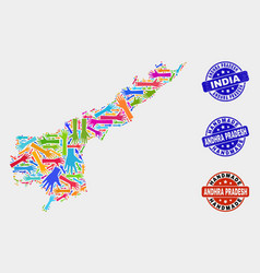 Hand composition andhra pradesh state map and vector