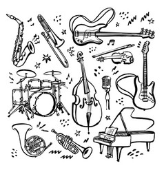 hand drawn set music instruments ink style vector image