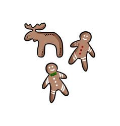 hand-drawn set of colorful christmas cookies vector image