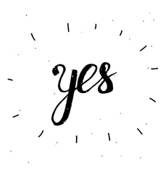 Hand-drawn word Yes in black color vector