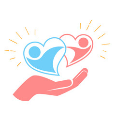 Hand holds two loving hearts vector