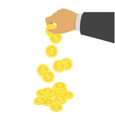 Hand putting dollar coin in stack vector