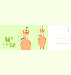 Happy birthday postcard holiday card with cute vector