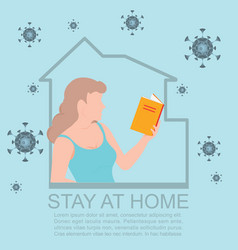 Happy woman reading book during isolation vector
