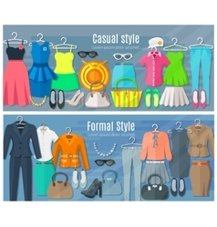 Horizontal Banners Of Formal And Casual Woman vector