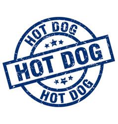 Hot dog blue round grunge stamp vector