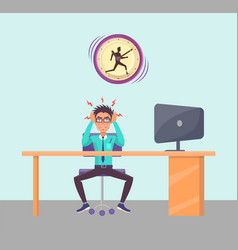 Irritated person in office vector