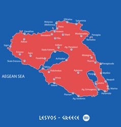 Island of lesvos in greece red map vector