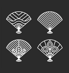 japanese icons fans set vector image