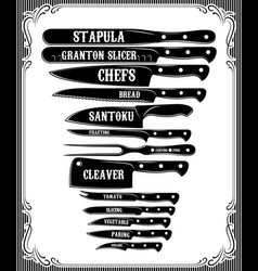 Kitchen guide with a set of knives and their use vector