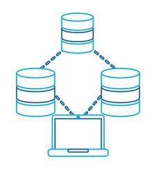 Laptop technology data base center connection vector