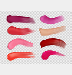 lipstick smudge and stroke realistic set make-up vector image