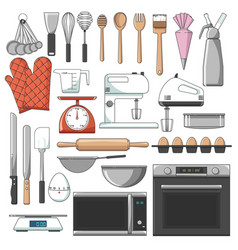 List major bakery equipments icon pack vector