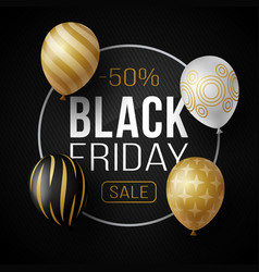 luxury black friday sale poster with shiny vector image