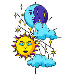 Magic with sun and moon mystic vector