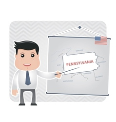 Man with a pointer points to a map of PENNSYLVANIA vector