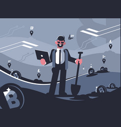 miner of crypto currency vector image