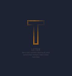 modern dotted letter t latin alphabet vector image