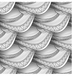 monochrome wave seamless pattern vector image