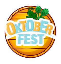 Oktoberfest wood barrel icon cartoon style vector