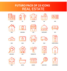 orange futuro 25 real estate icon set vector image