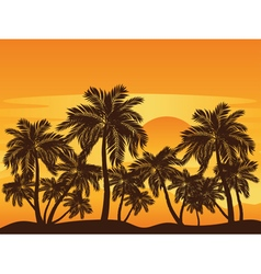 Palm Tree at Sunset3 vector image