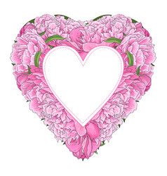 pink peony bouquet in heart shape with sticker vector image