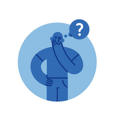 Puzzled man thinking with question mark flat style vector