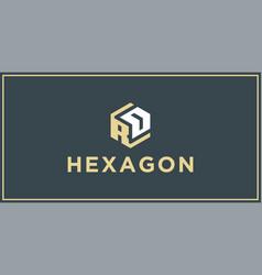 Rd hexagon logo design inspiration vector