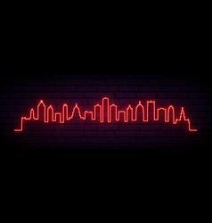 red neon skyline detroit city bright detroit vector image