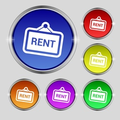Rent icon sign Round symbol on bright colourful vector