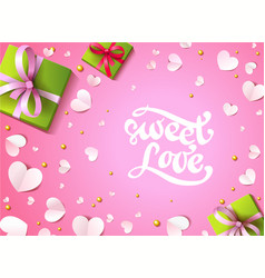 romantic background with paper hearts present vector image