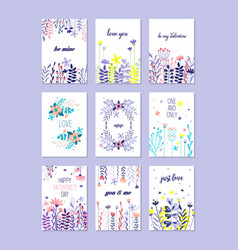 Romantic greeting cards set trendy cards for vector