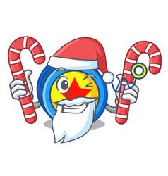 Santa with candy yoyo mascot cartoon style vector