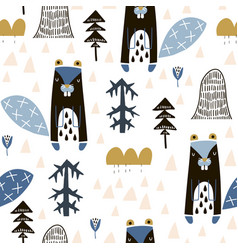 Seamless childish pattern with cute beavers in the vector