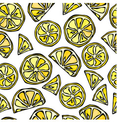 seamless lemon slices background pattern of vector image