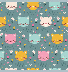 Seamless pattern with kittens vector