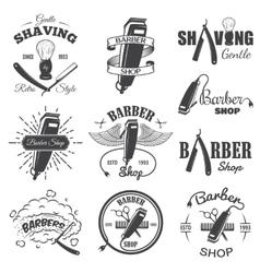 second set vintage barber shop emblems vector image