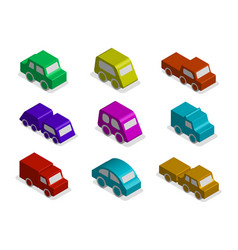 set of 3d isometric toy car icons isolated vector image