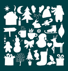 set of christmas silhouettes vector image