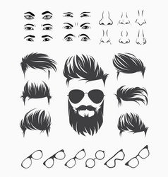 set of elements of male human face vector image