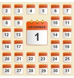 Set of icons for the calendar in December vector image