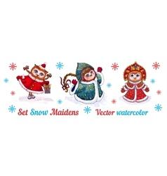 Set-owls Snow Maidens in fur coats watercolor vector