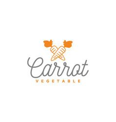 simple line art vegetable carrot logo design vector image