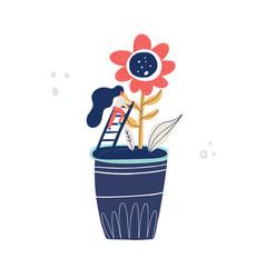 small woman gardening vector image