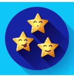 Smiley cartoon stars with various facial vector image