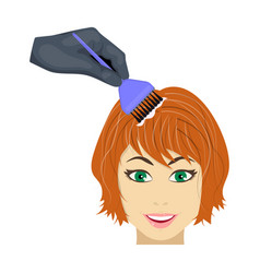 Staining of female hair in a hairdresser hair vector