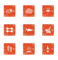 Street obstacle icons set grunge style vector