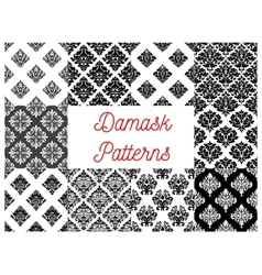 Stylized floral damask seamless patterns vector image