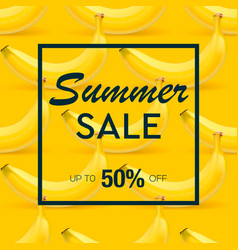 summer sale banner with background of ripe fruit vector image